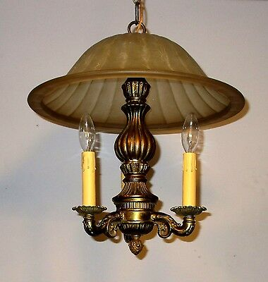 Vintage Chandelier Pendant Glass Shade Three Light Lamp Ceiling Fixture