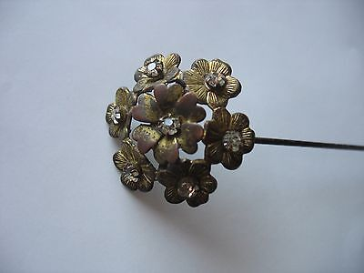 "ANTIQUE Victorian HAT PIN  10 1/2"" Brass Floral Rhinestone center Flower"