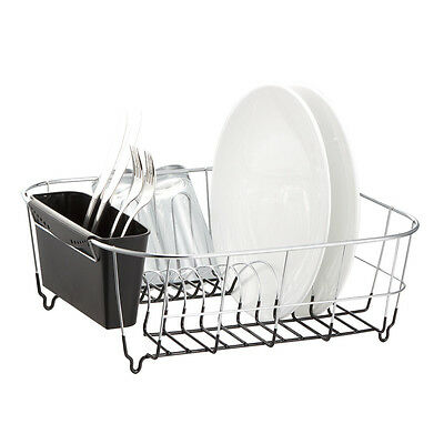 Kitchen Steel Over Sink Dish Drying Rack with Cutlery Holder Drainer Organizer