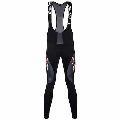 Santini Vega Aquazero Bib Tights Black/Red GIT Pad Water Resistant Medium