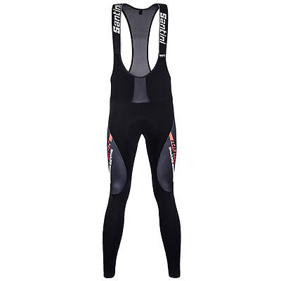 Santini Vega Aquazero Bib Tights Black/Red GIT Pad Water Resistant large