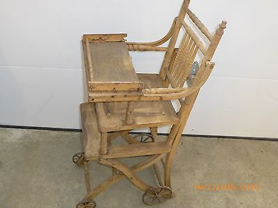 Antique Wood High Chair Stroller convertible baby 1800s iron wheel LOCAL PU @@@