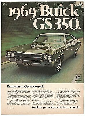 Vintage 1969 Buick GS350 Print Ad Muscle Car Advertisement