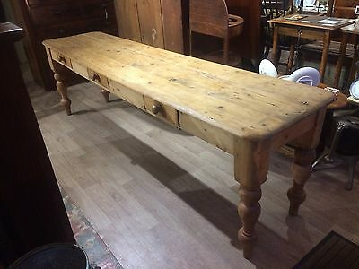 Antique 8 Foot Long Victorian Pine Dairy Table. Narrow Side Table/Serving Table