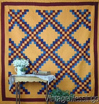 Early GRAPHIC Antique Irish Chain QUILT PA Old Order Amish