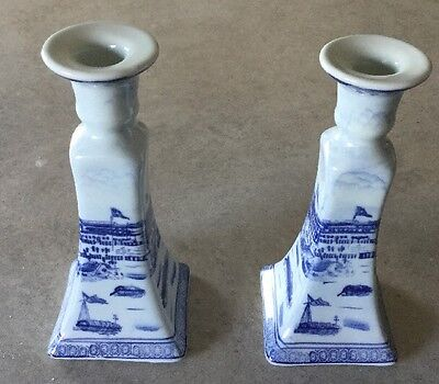 Pair Of Blue And White Candlestick Holders