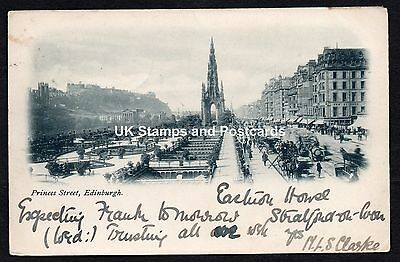 1902 Posted Undivided Back Card Of Princes Street Edinburgh Horse & Carriages