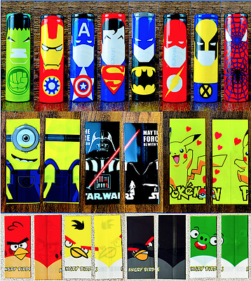 4-Pack Pre-Cut 18650 Battery Wraps Superhero Cover Protective Sleeve Wrap