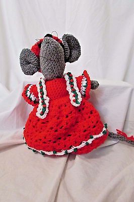 """Handmade Crochet Christmas Mouse Red Hat and Dress  Country Christmas 13"""""""