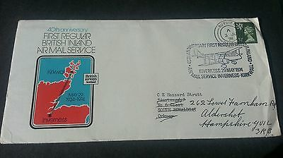 GB Stamps 1974 Airmail envelope Kirkwall to Inverness