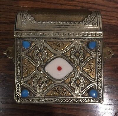 Morrocan antique brass and silver inlaid Quran case