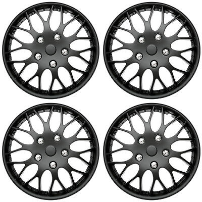 4 Pc Set Of 15 Matte Black Hub Caps Full Lug Skin Rim Cover For Oem