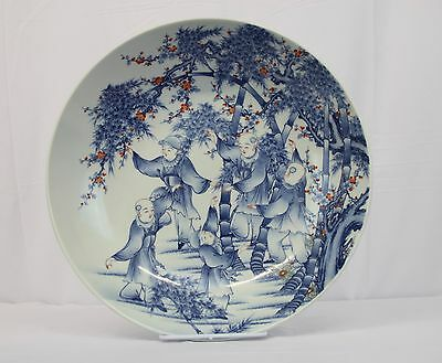 Very Large Antique Chinese Hand Painted Blue & White Charger with Festive Motif