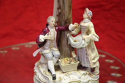 Gorgeous 19th Century Meissen Figural Group of Family Picking Apples from Tree