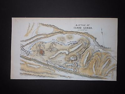 Battle Cerro Gordo Mexico Mexican-American War 1849 Map H/C U S Army +Free Print