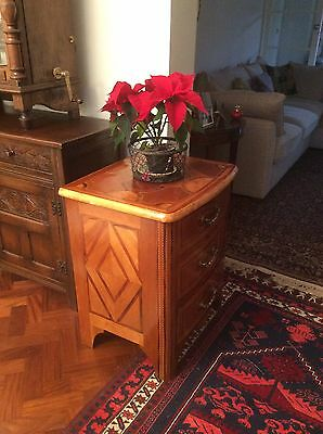 Pair of walnut inlaid chests of drawers
