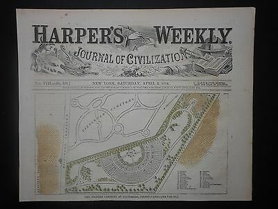 Scarce Civil War Soldier Cemetery At Gettysburg April 2 1864 Map Plan Hand Color
