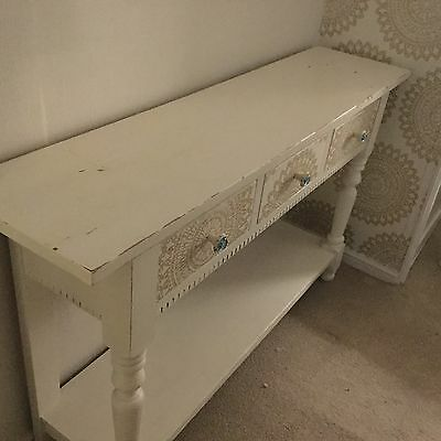 Shabby Chic Solid Pine Console Table Sideboard Draws