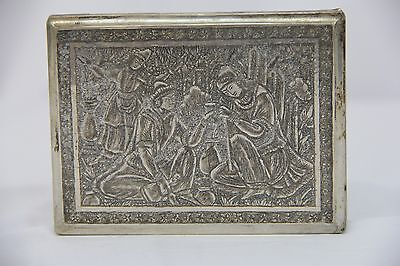 Heavily Decorated Antique 19th Century Persian Sterling Silver Cigarette Case