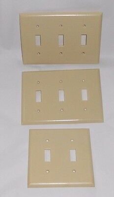 3 Vintage Bell Electric Ivory Bakelite Double Triple Light Switch Plate Covers