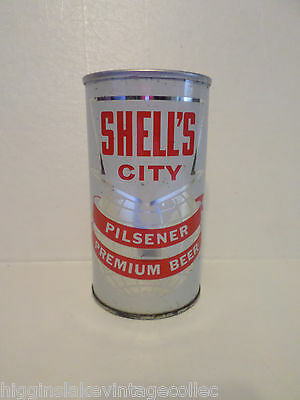 Rare Vintage Shell's City 124-17 Florida Lid Miami Straight Steel  Old Beer Can