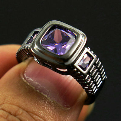 Size 6 Amazing Amethyst Black 18K Gold Filled Anniversary Ring Gift For Men's