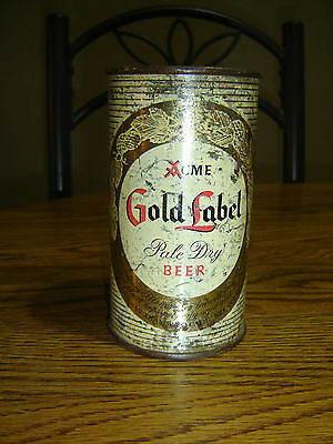 Acme Gold Label Pale Dry Old Time Flavor  Flat Top Beer Can