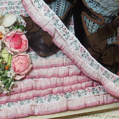 1y VTG FRENCH DUSTY PINK RUFFLE JACQUARD RIBBON DOLL DRES TRIM ROCO ROSETTE ANTQ