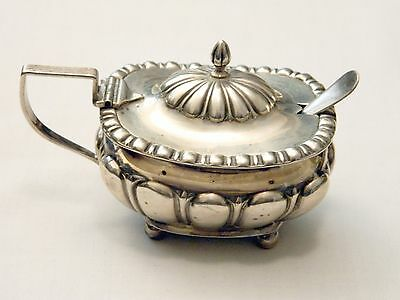 Antique 1897 English Sterling Silver Condiment Mustard Pot w Cobalt Liner