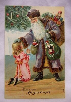 1909 Santa Claus w/ Purple Robe & Bag of Toys Christmas Post Card
