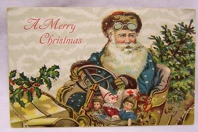 1900's Santa Claus in Blue Robe in Automobile w/ Bag of Toys  Christmas Card