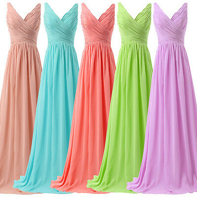 V-neck Women Formal Long Prom Wedding Party Bridesmaid Gown Evening Dresses New