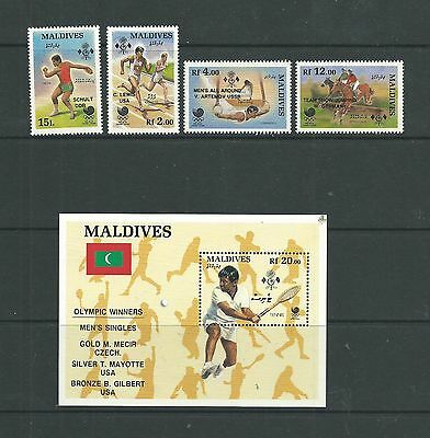 Maldives 1989 Olympic Medal Winners SG1304-07 + MS1308,  mnh.