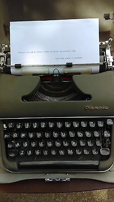 Olympia Military Green Antique Vintage Typewriter in heavy industrial case