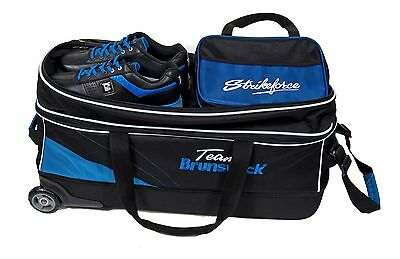 Team Brunswick Triple 3 Ball Tote Bag with Shoe Pocket & Tow Wheels Black/Blue