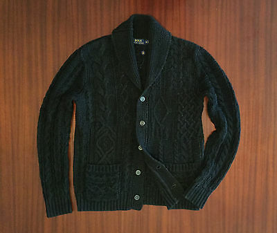 New Ralph Lauren Cable Knit Shawl Collar Cardigan 100% Cotton Charcoal Men's M