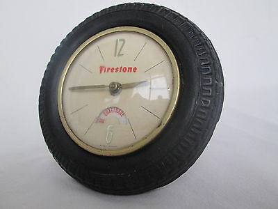 Firestone vintage clock Tire advertising dial with rotating movement mechanical