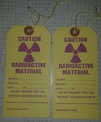 Vintage Radioactive Material Caution Tag Atomic Products Corp