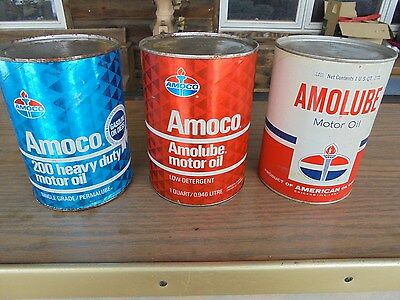 Vintage Three Different Amoco One Quart Oil cans
