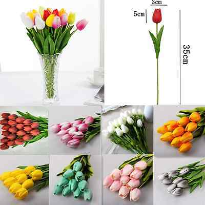 10pcs Artificial Tulip Silk Flowers Real Touch Wedding Bouquet Home Party Decor