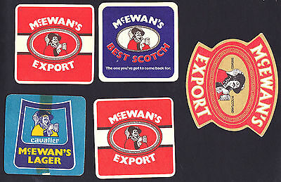 Collectable beer coasters -  Set of 5 assorted McEwan beer coasters (SCOTLAND)