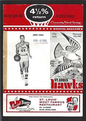 1966 St. Louis Hawks vs Los Angeles Lakers Game Program, Jerry West on Cover -NM