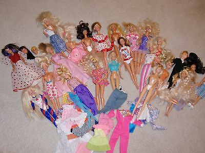 Mixed Lot Of Barbie Dolls~ And Other Dolls~Some Clothing & Extra Parts