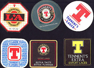 Collectable beer coasters -  Set of 6 assorted Tennents beer coasters