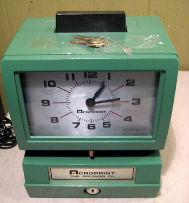 NICE Working Acroprint Time Recorder Electric Punch Time Clock 125NR4 with keys