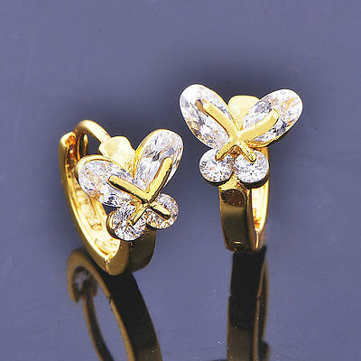 9Ct Gold Layered Childrens Girls Butterfly Earrings with Simulated Diamonds