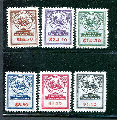 6 Different MNH State of West Virginia Property Transfer Tax Stamps (Lot #rn176)