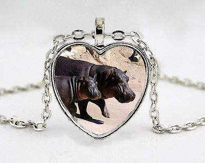 Hippopotamus and Baby Silver Heart Pendant Necklace - Wildlife Nature Jewelry