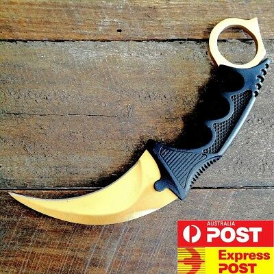 0NEW Outdoor KARAMBIT NECK KNIFE Survival Hunting Fixed Blade+Sheath Gold