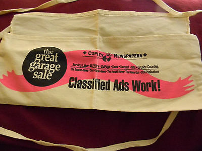 Halloween PAPER BOY costume apron Copley Newspapers with money pouch